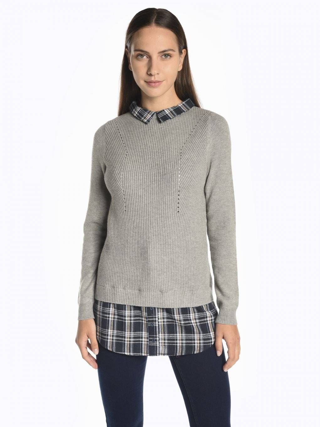 Structured pullover with shirt details