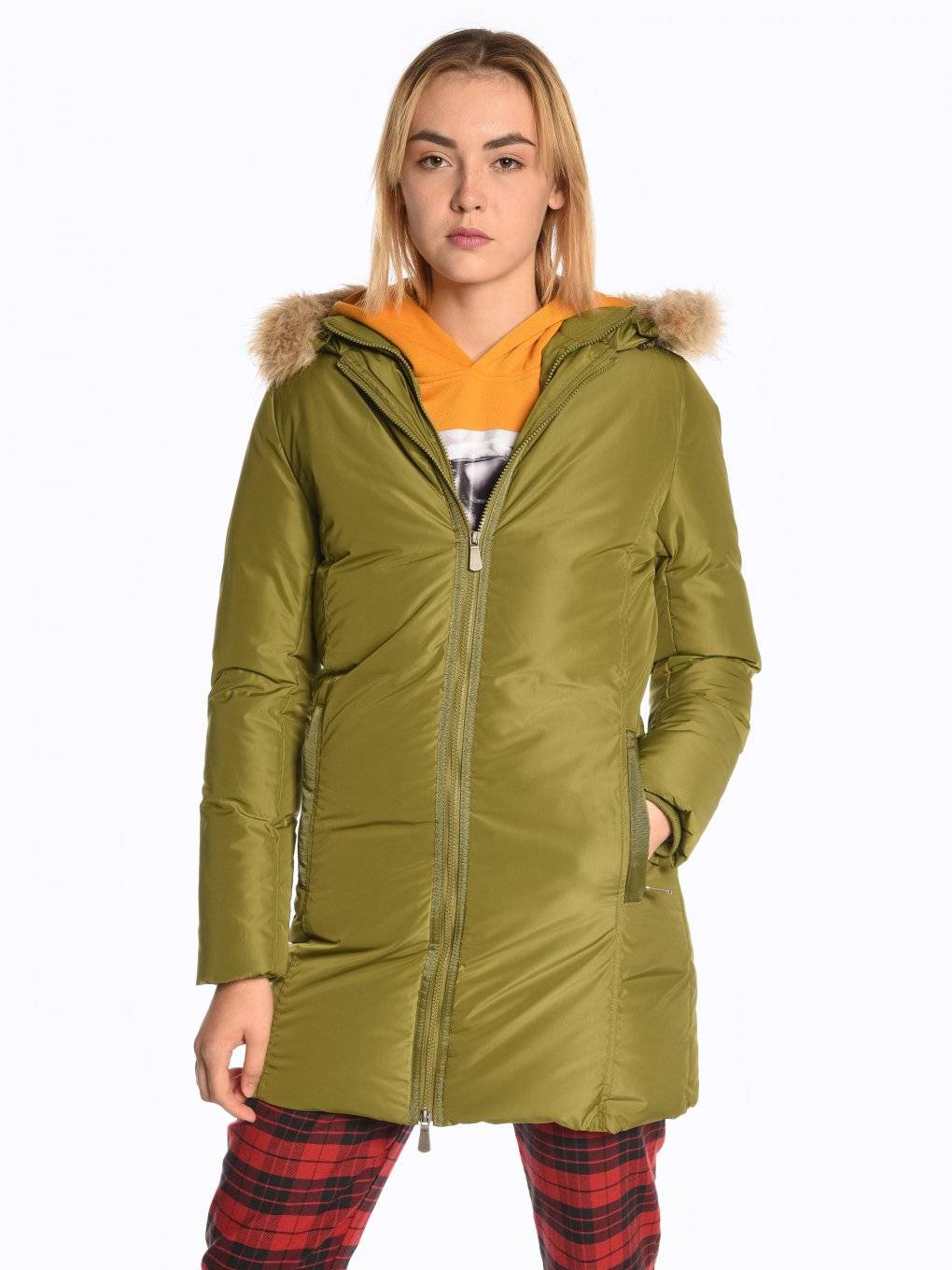 Longline quilted padded jacket with removable fur
