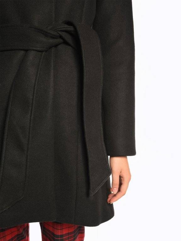 High neck coat with belt