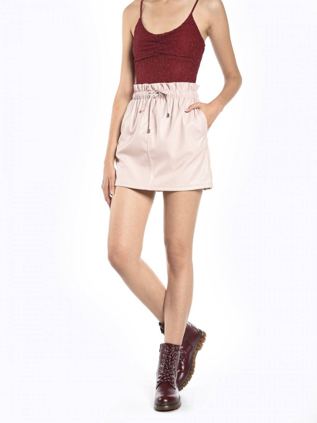 Faux leather paperbag mini skirt
