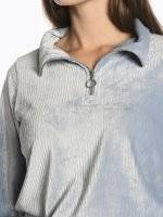 Structured sweatshirt with high collar