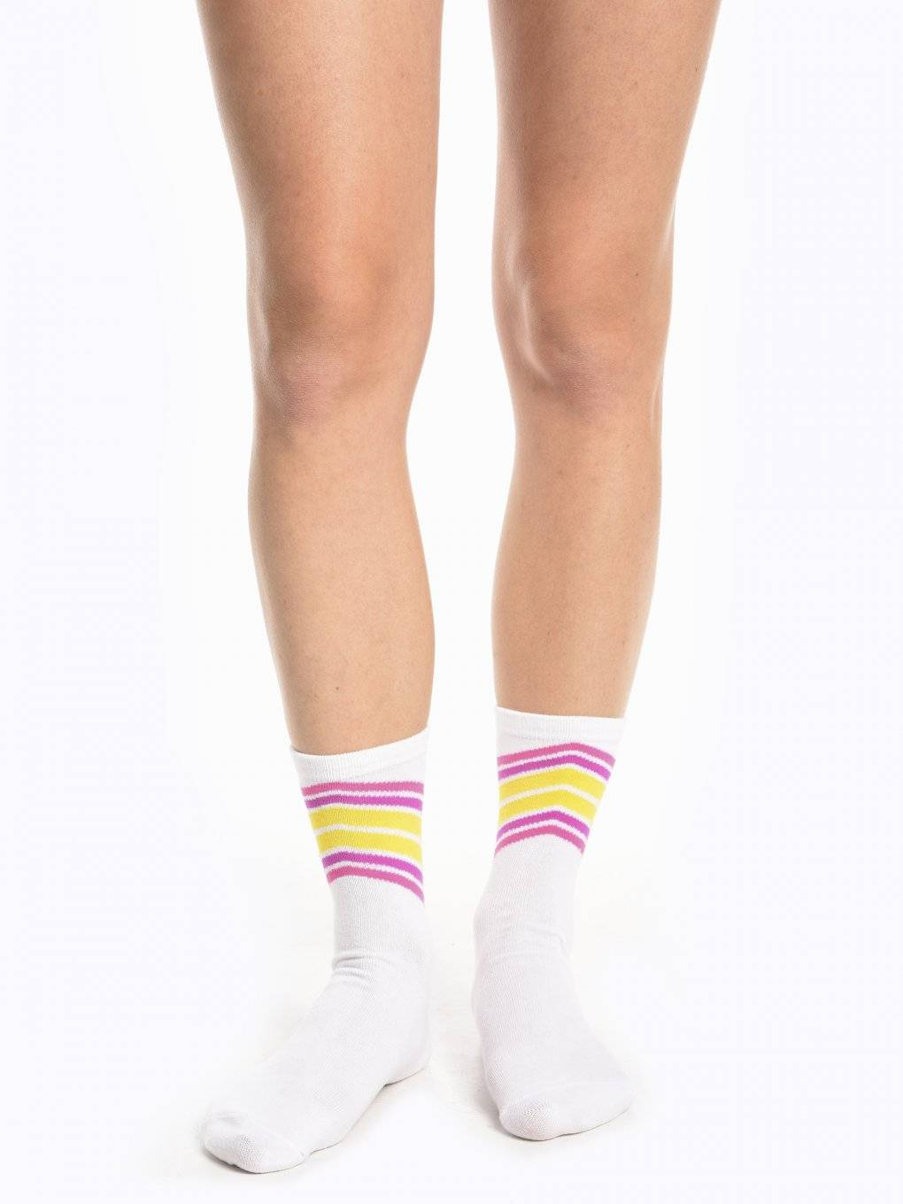 Crew socks with stripes