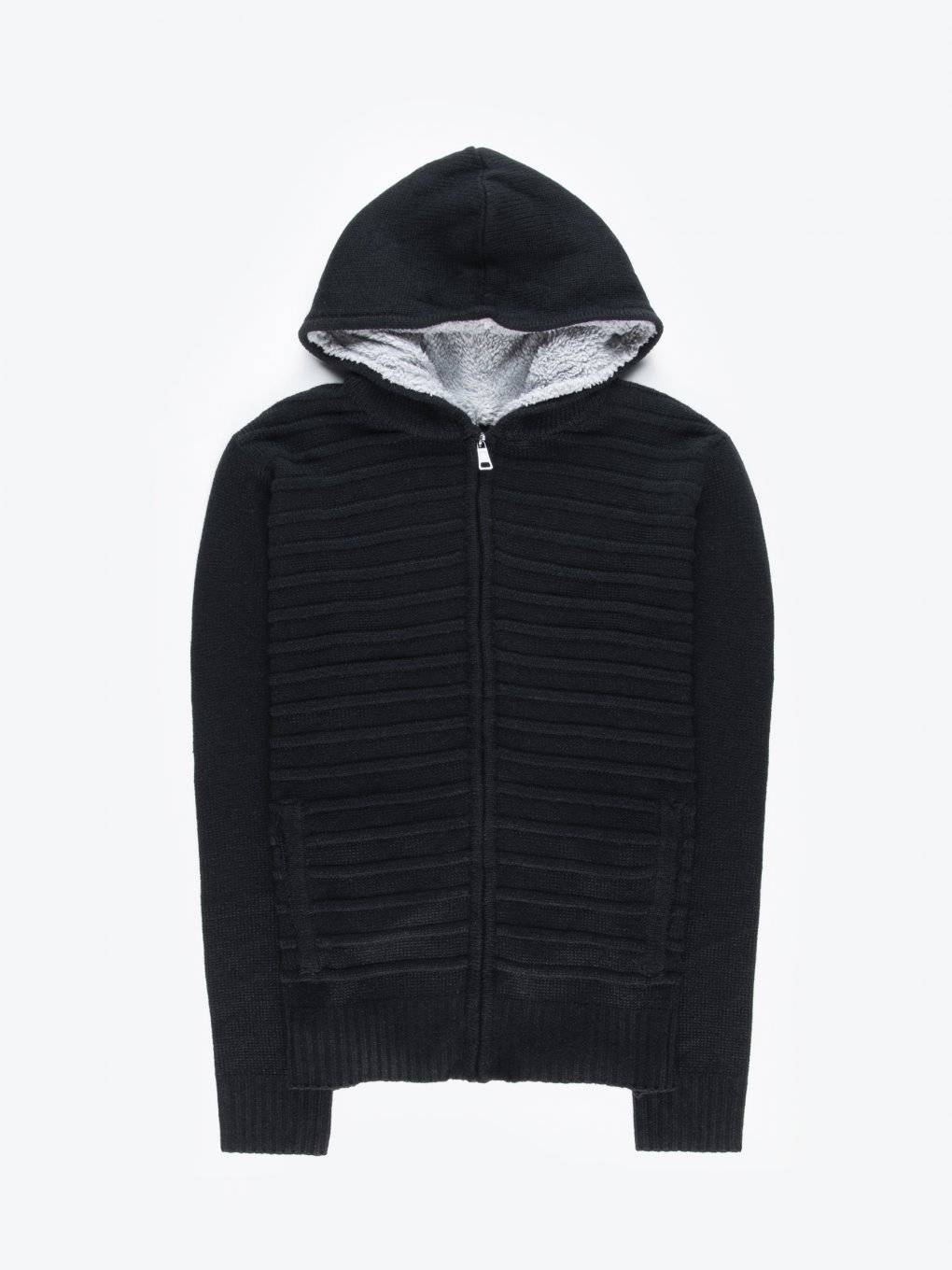 Zip-up cardingan with hood