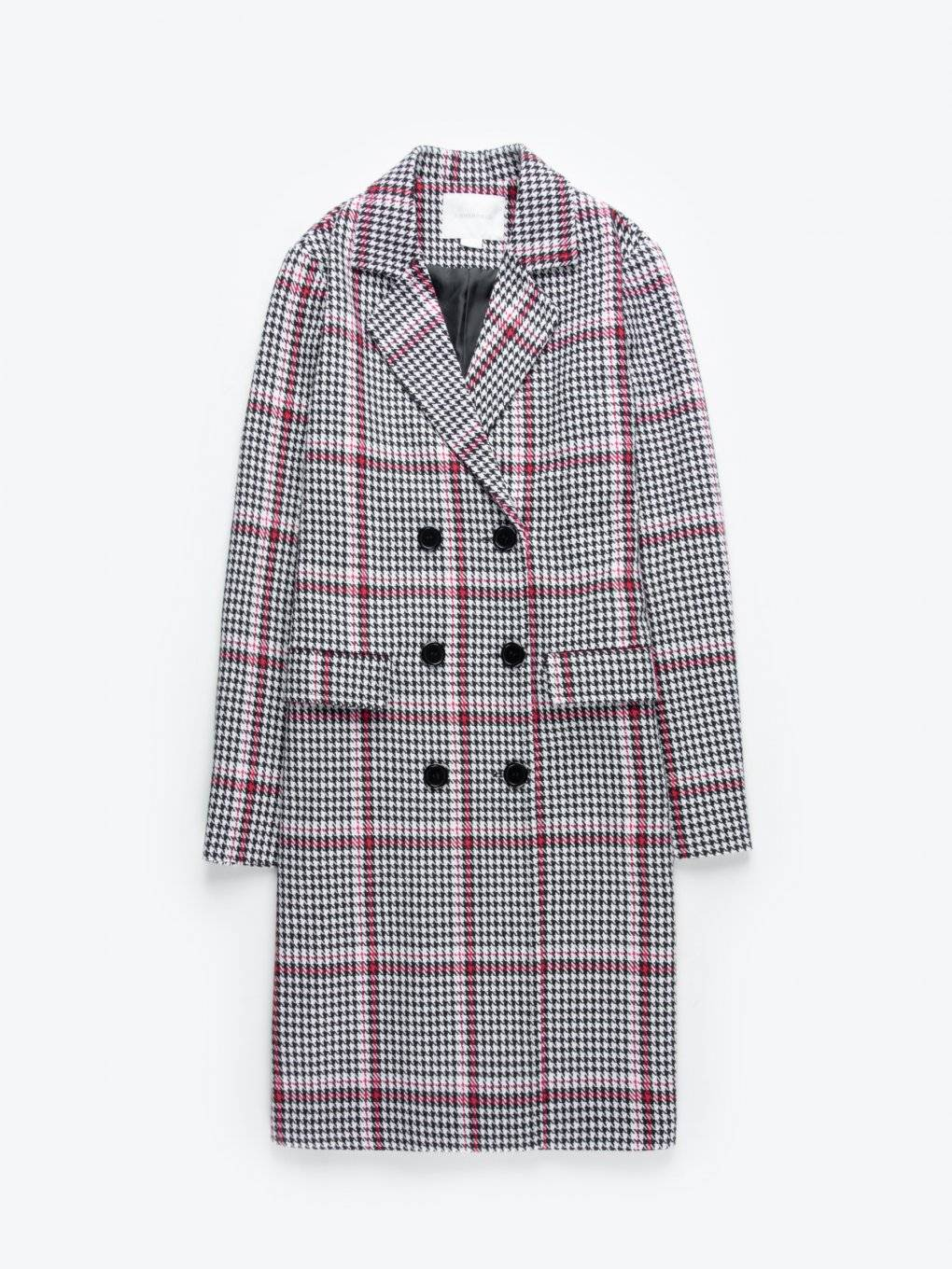Plaid double-brested longline coat