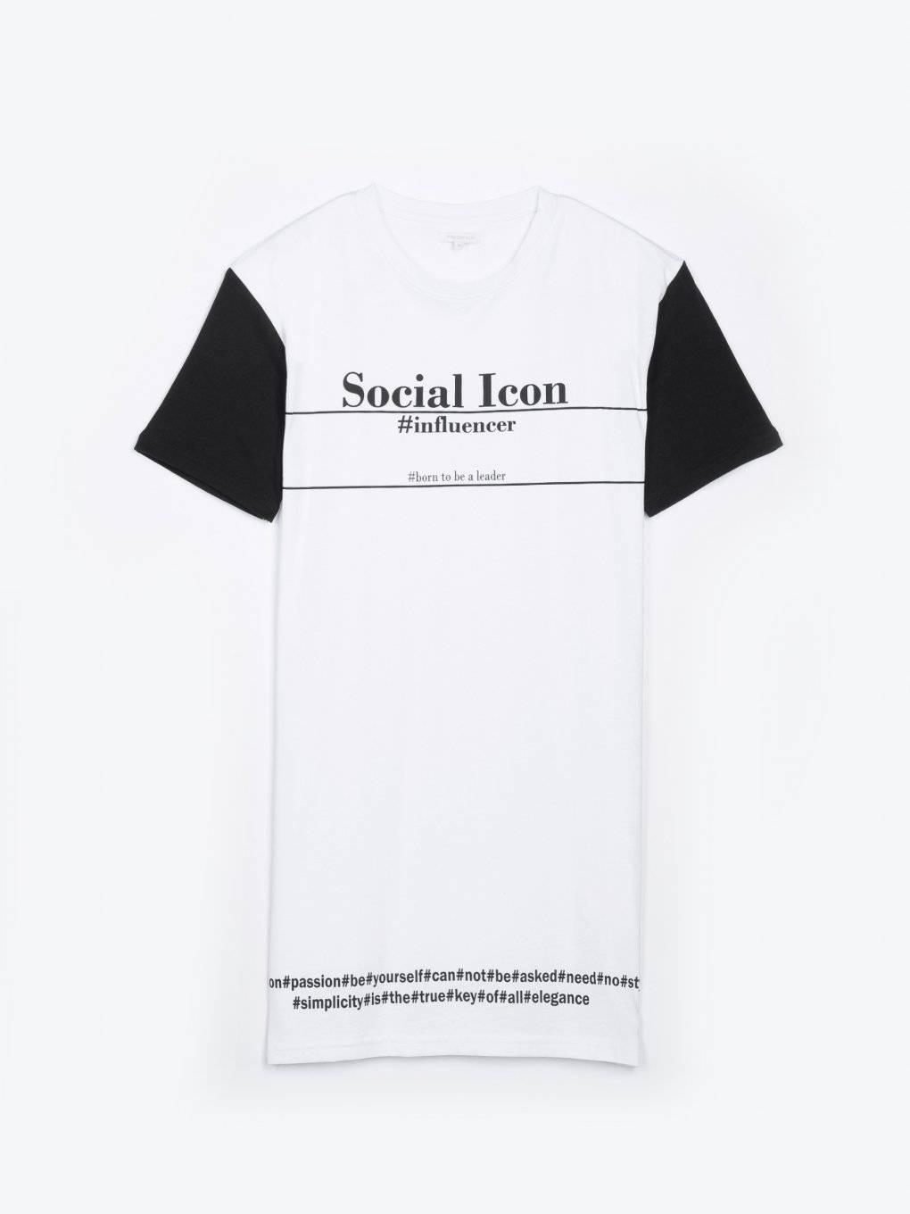 Longline t-shirt with contrast sleeve and slogan print