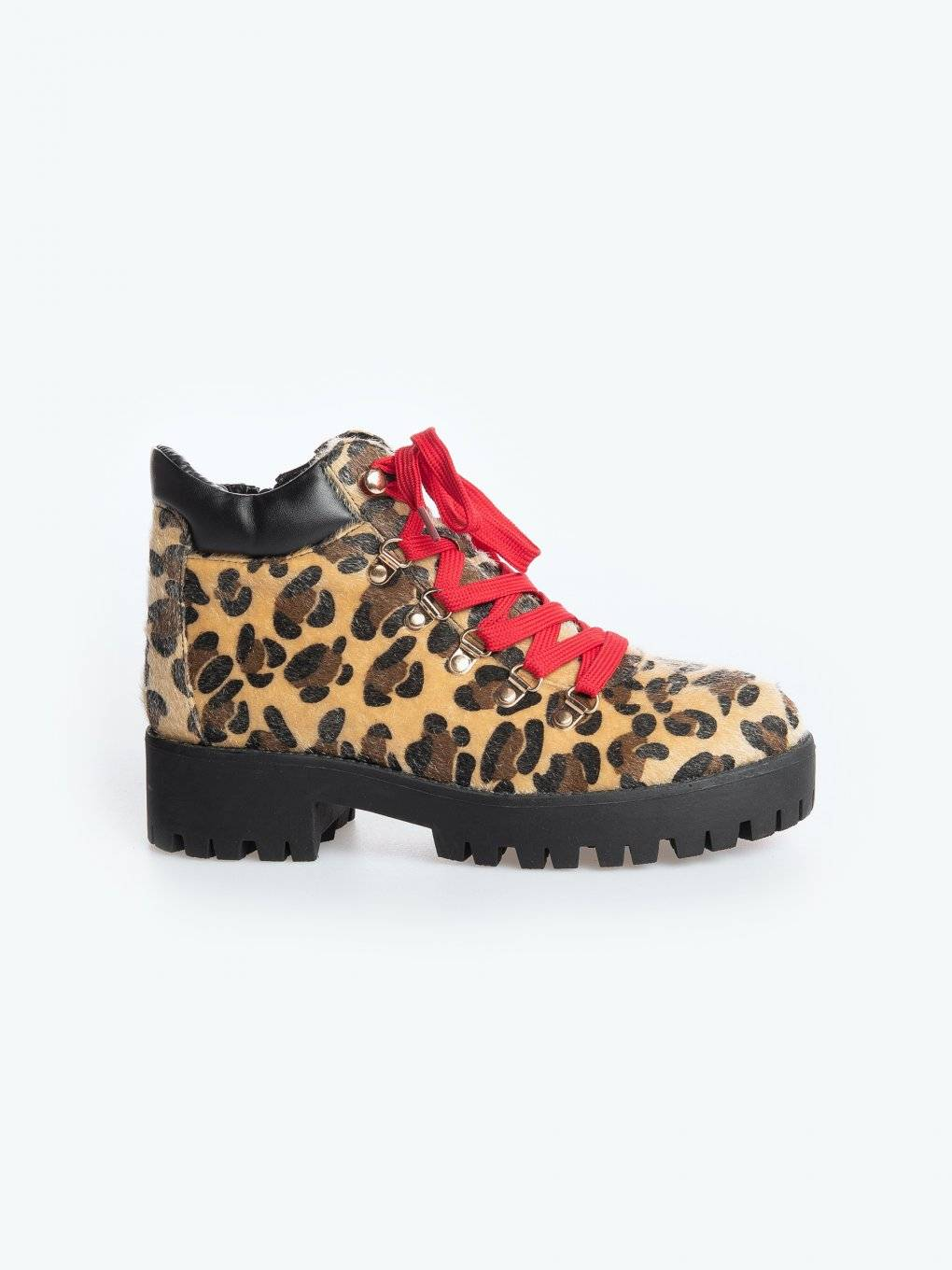 Animal pattern ankle boots