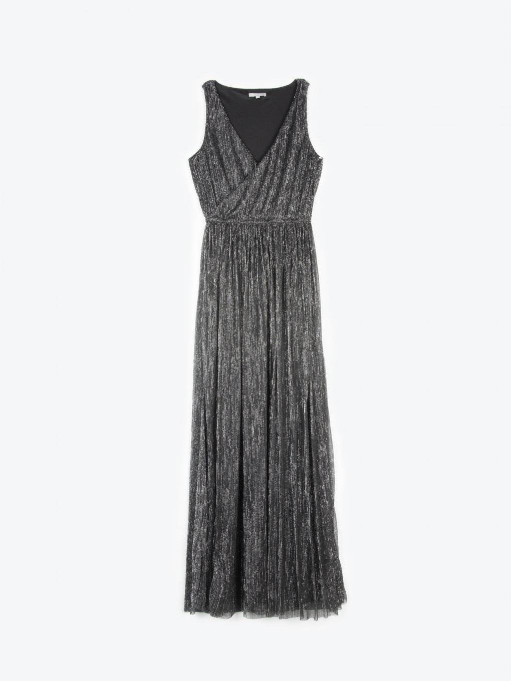 Maxi metallic wrap evening dress