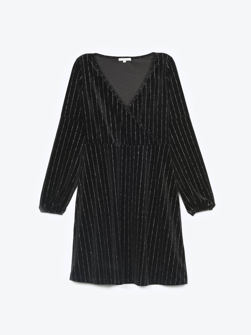 Wrap striped velvet dress