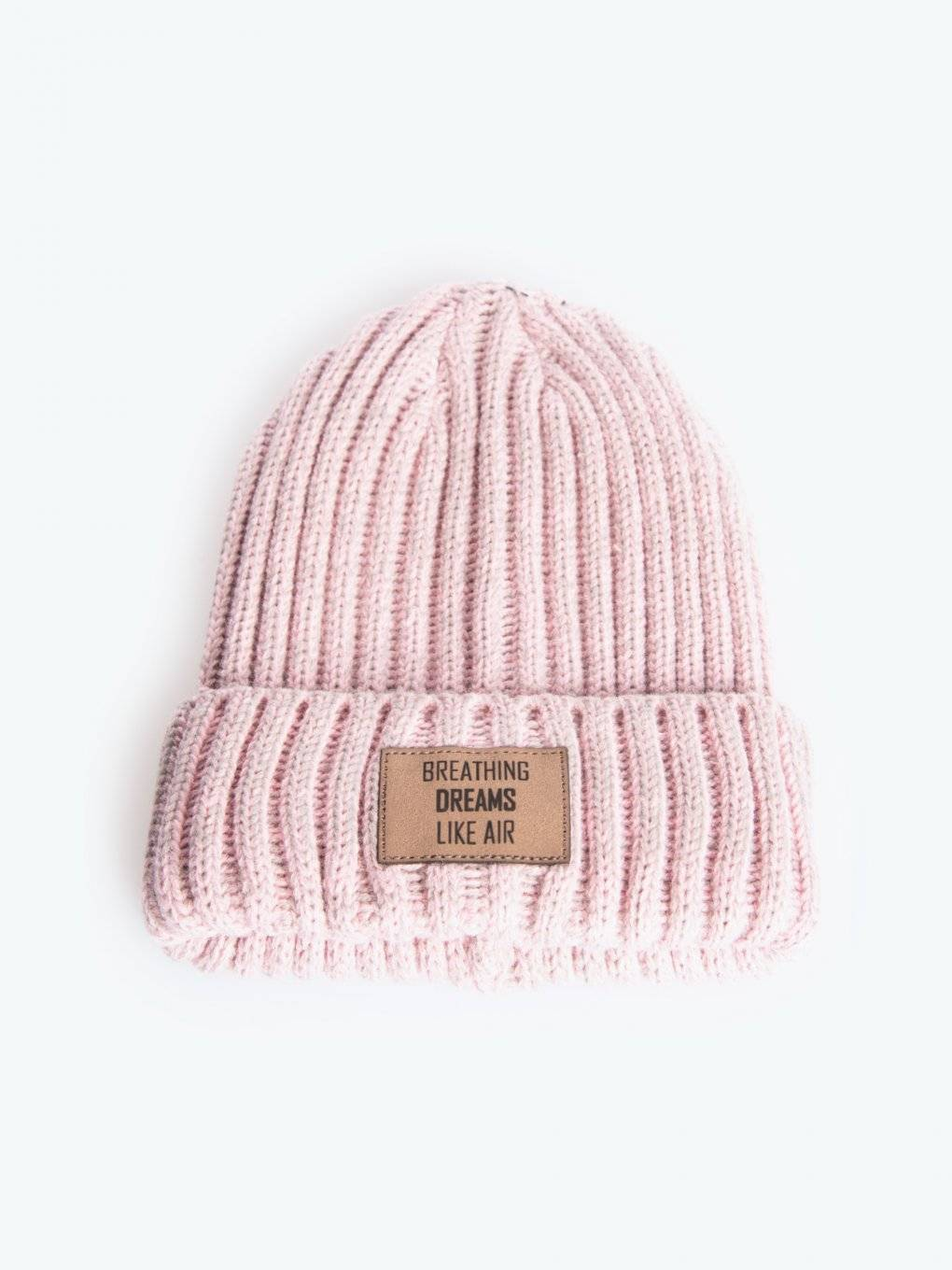 Rib-knit beanie with patch