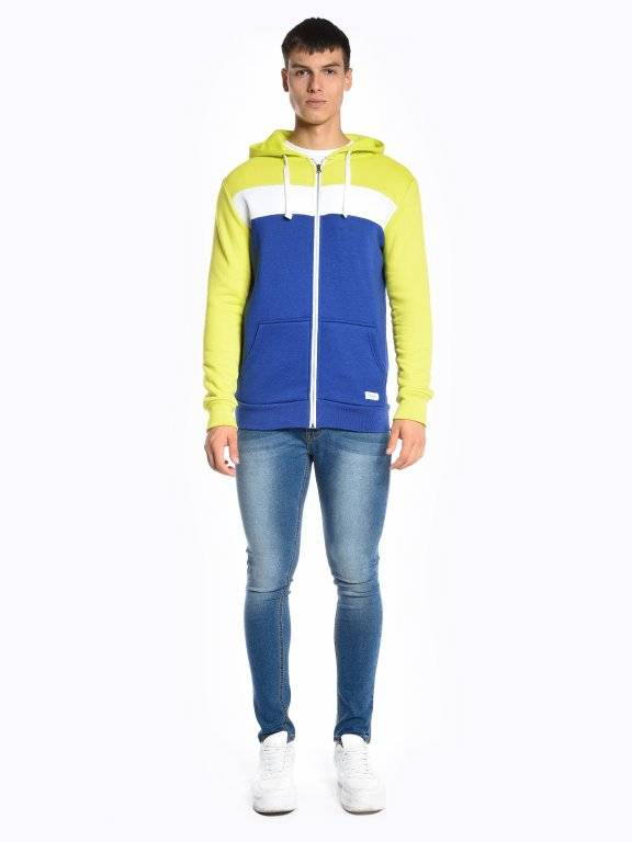 Color block zip-up hoodie