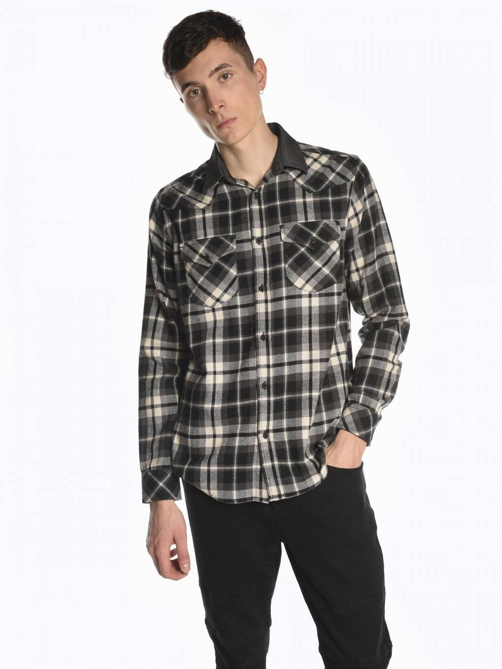 Plaid regular fit cotton shirt