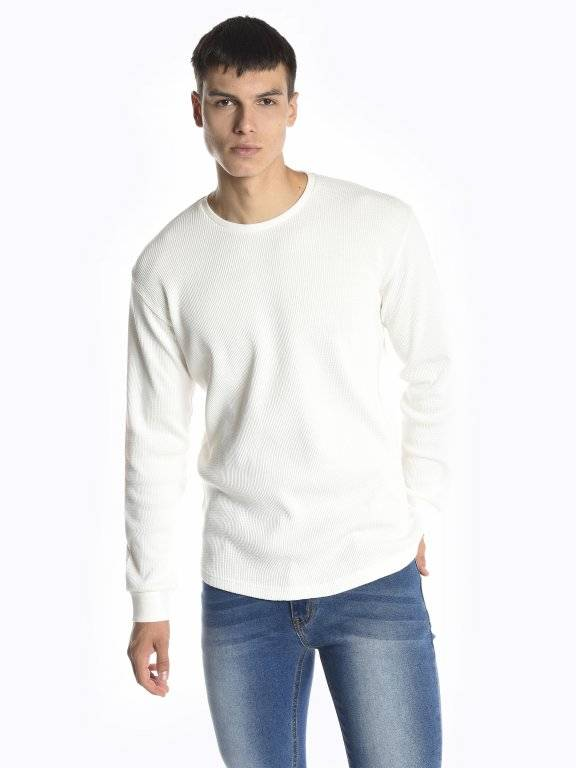 Basic waffle-knit long sleeve t-shirt