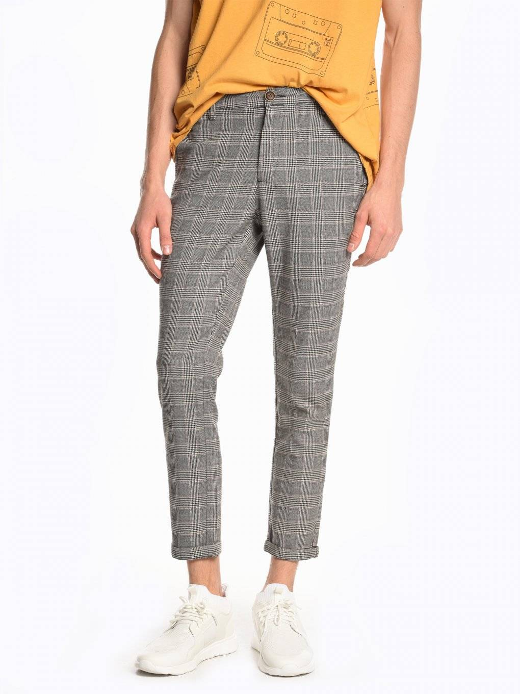 Plaid chino trousers