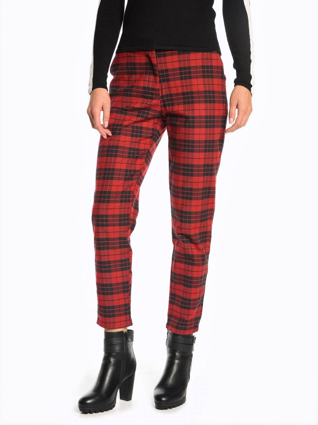 Plaid straight fit trousers