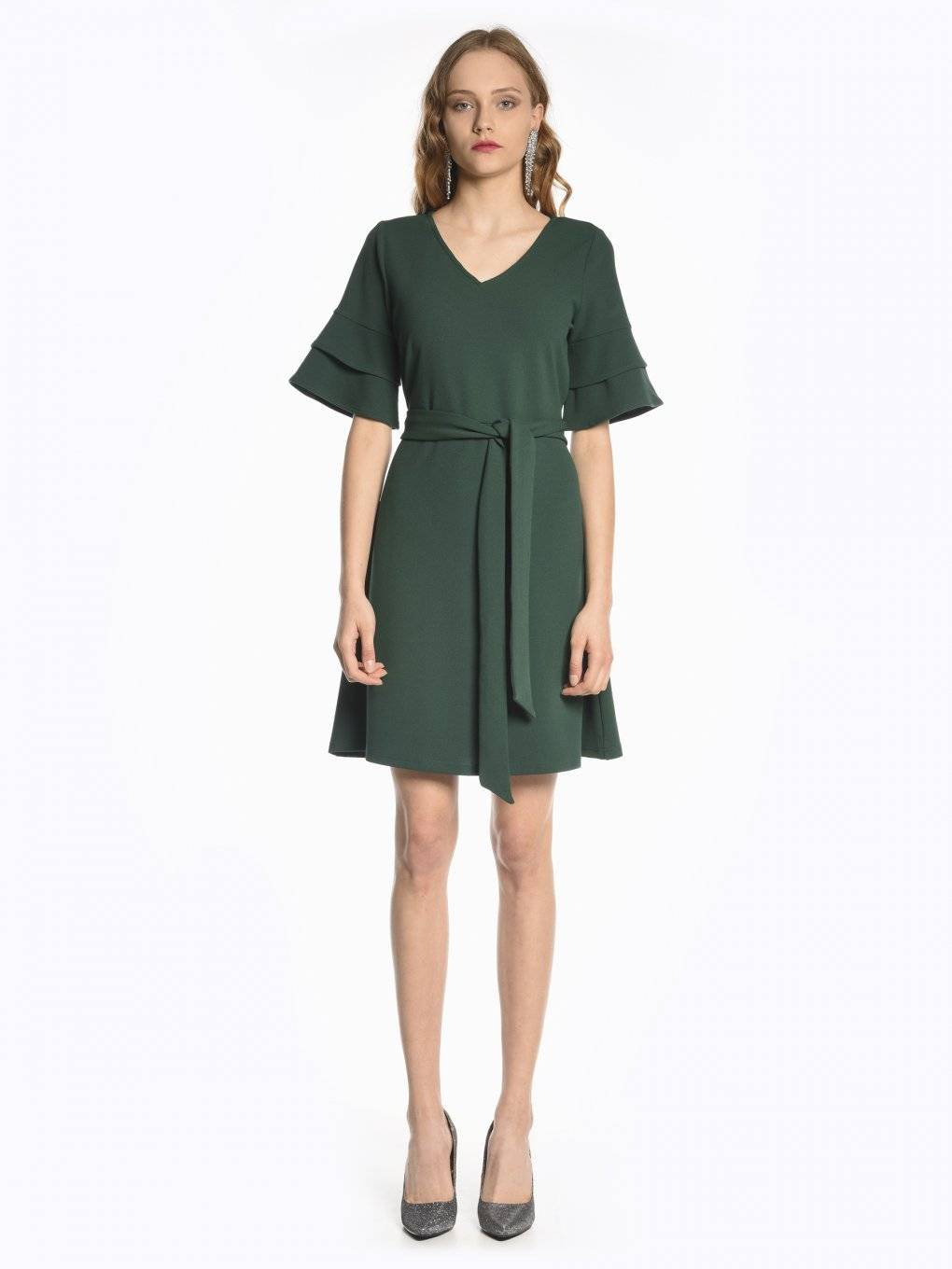 Bell sleeve A-line dress with belt