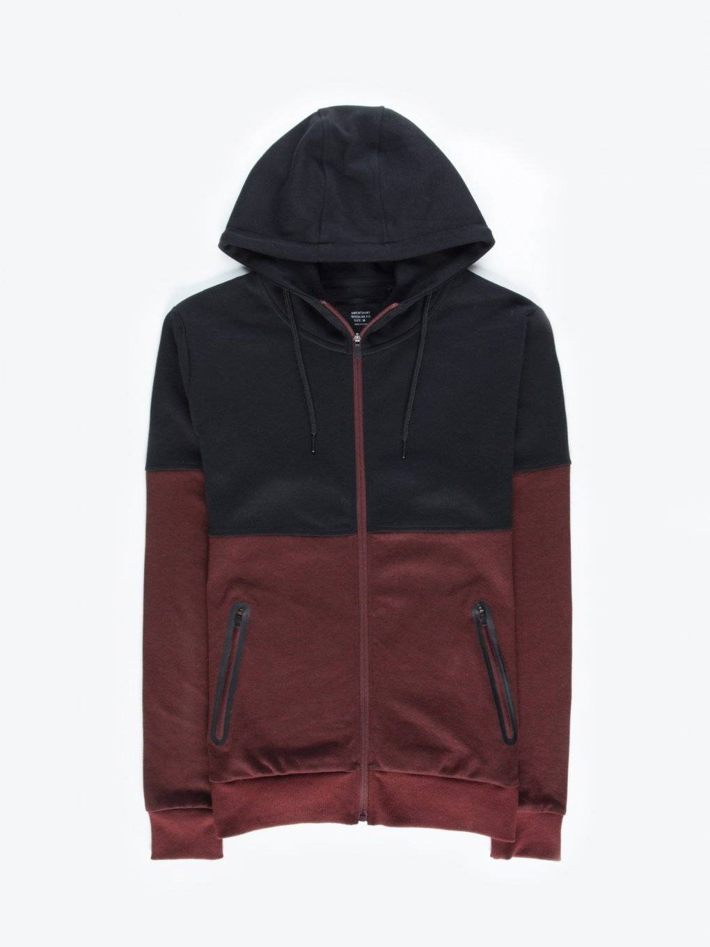 Colour block zip-up hoodie