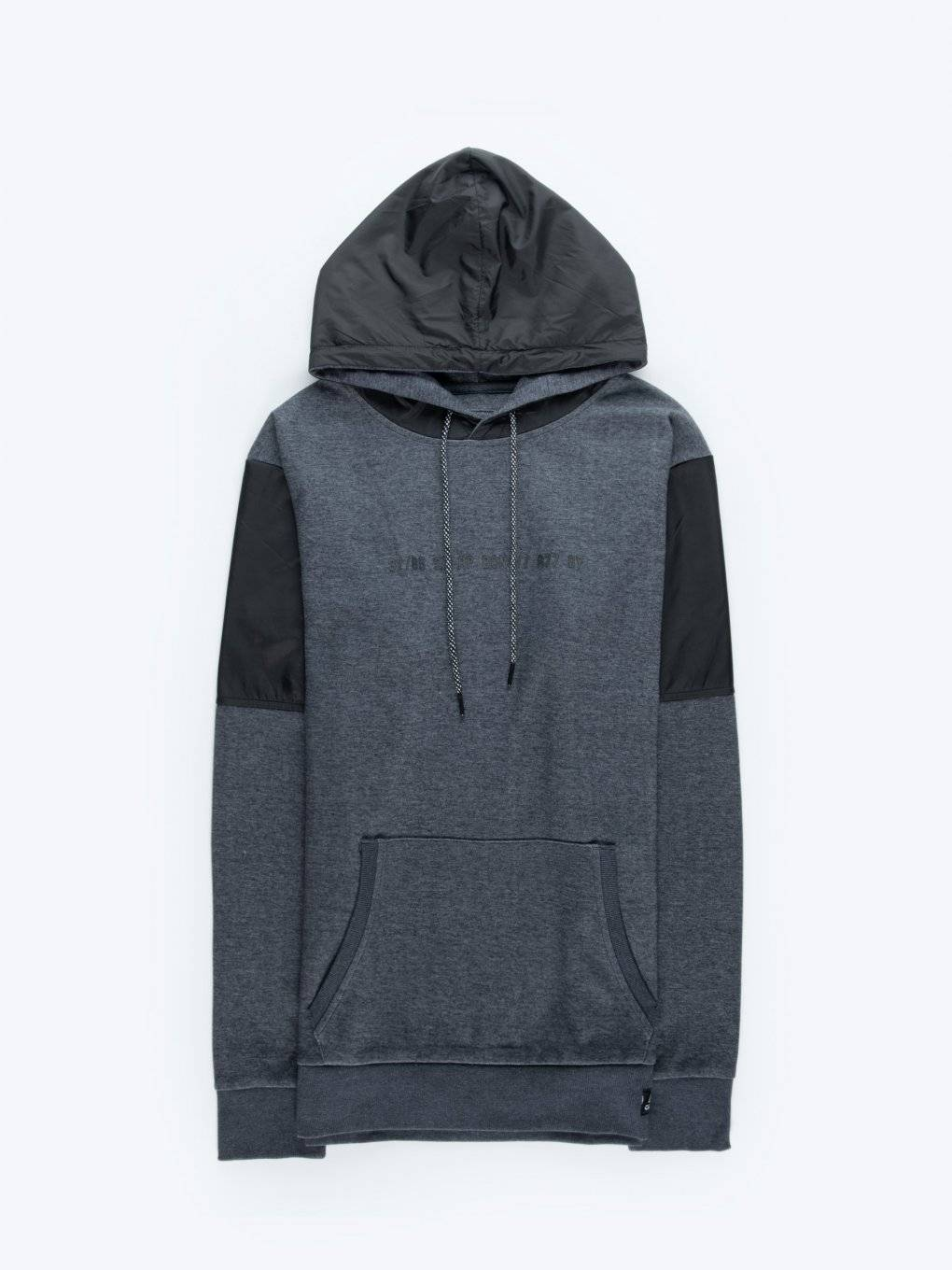 Combined marled hoodie with slogan print