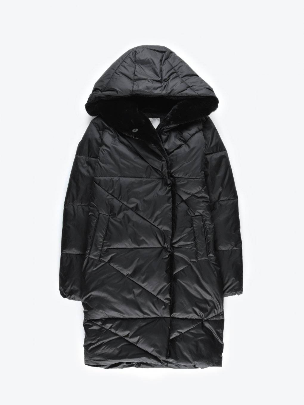 Faux fur lined quilted padded jacket with hood