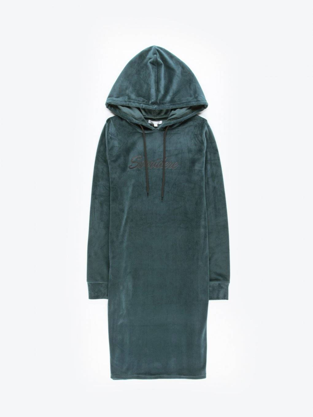 Hooded sweatshirt dress with message print