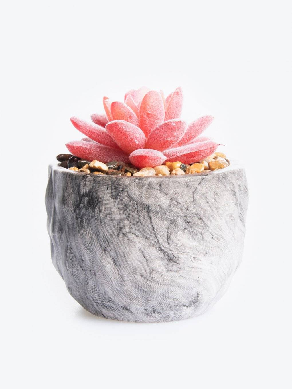 Ceramic flower pot with flower decoration