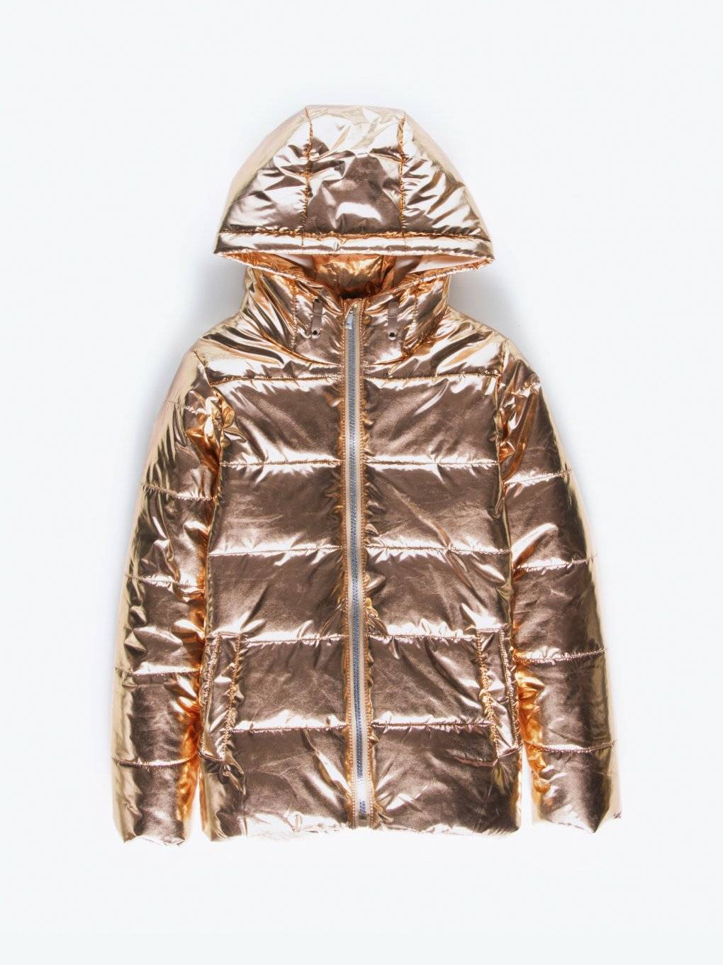 Metallic quilted padded jacket with hood