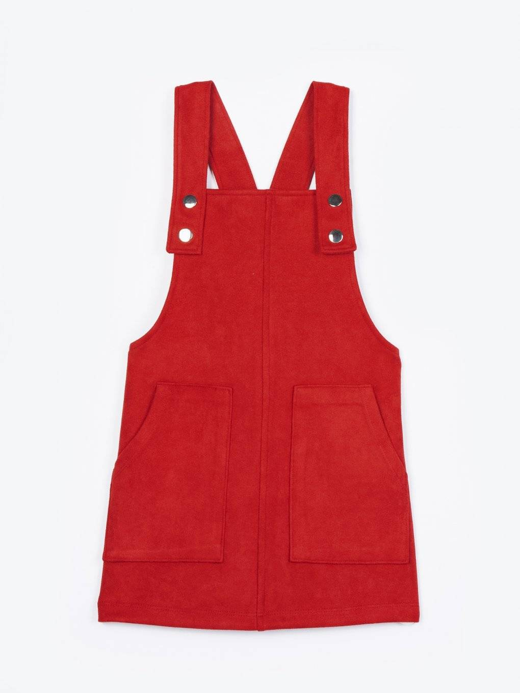 Faux suede dungaree skirt with patch pockets