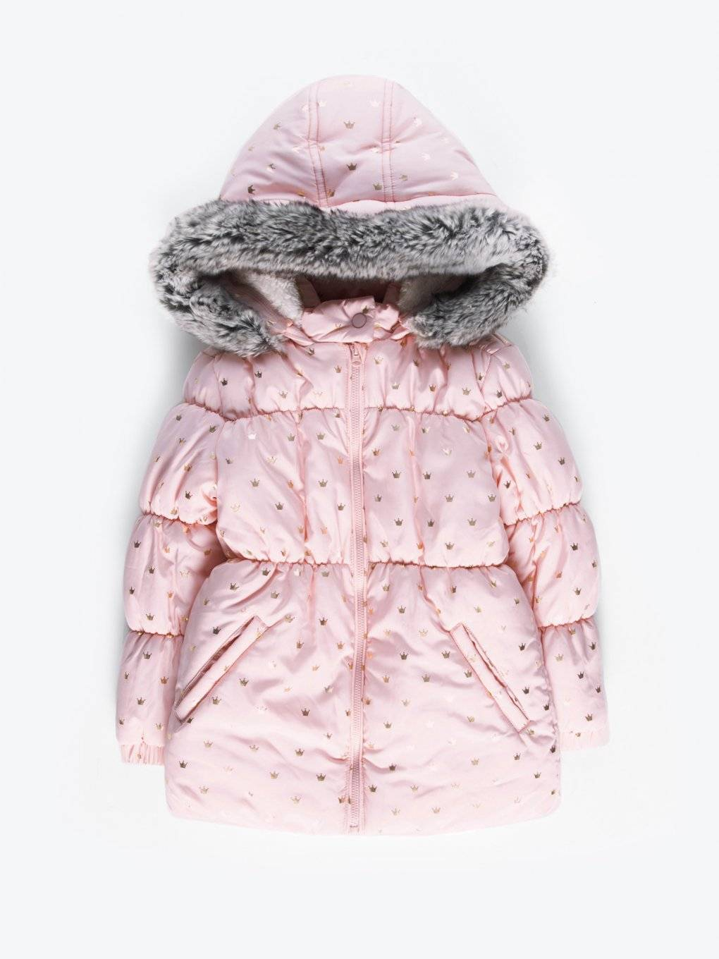 Quilted padded jacket with metallic print
