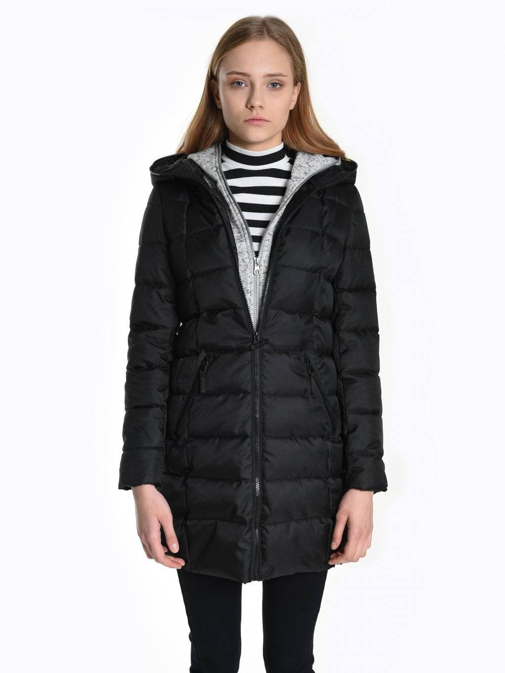 Quilted padded jacket with layered hood