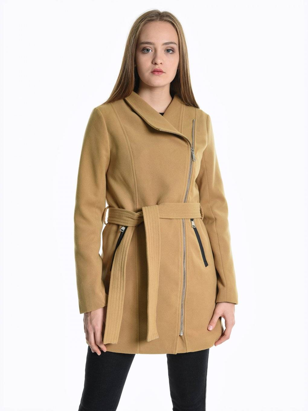 Belted coat with asymmetric zipper