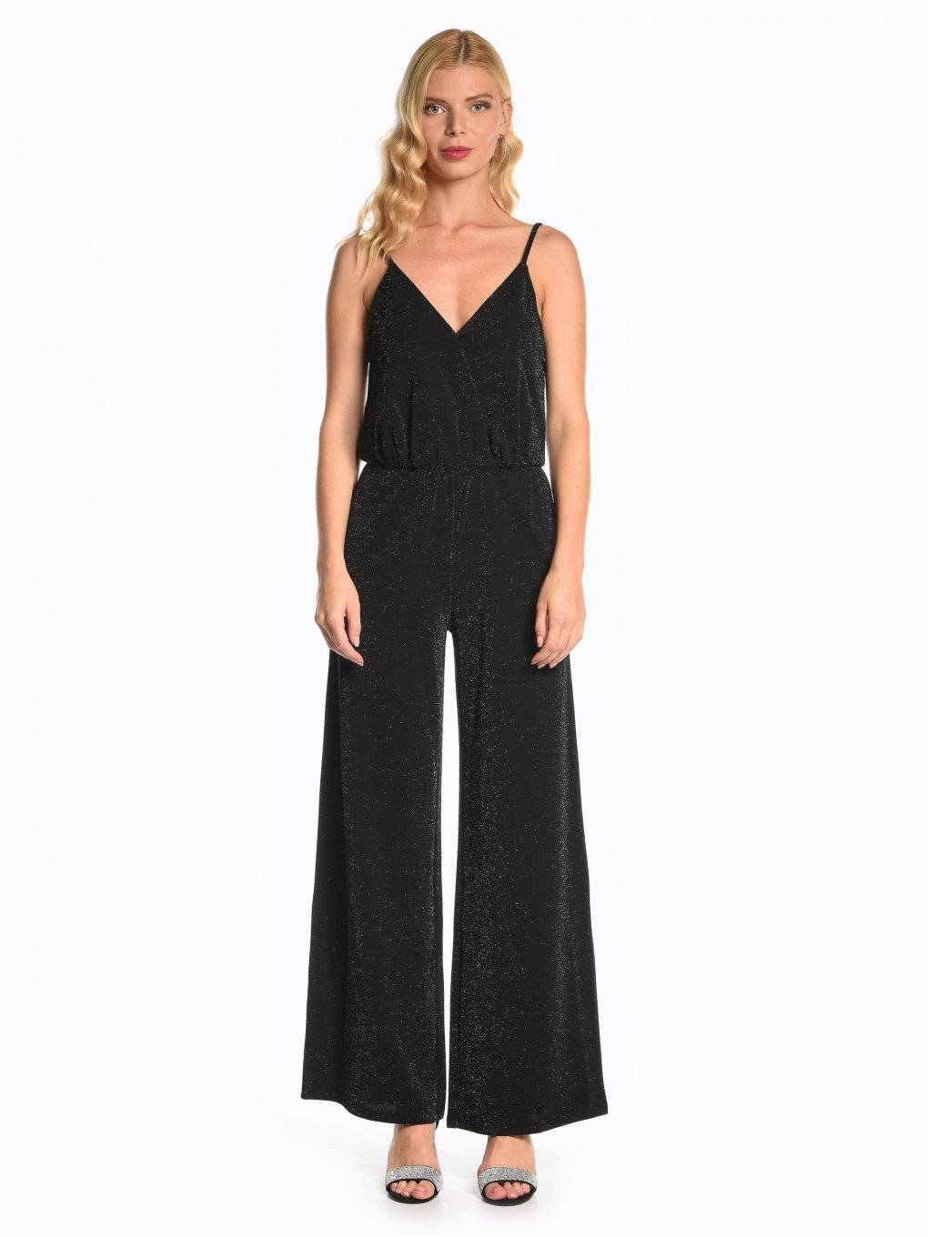 Wide leg metallic jumpsuit