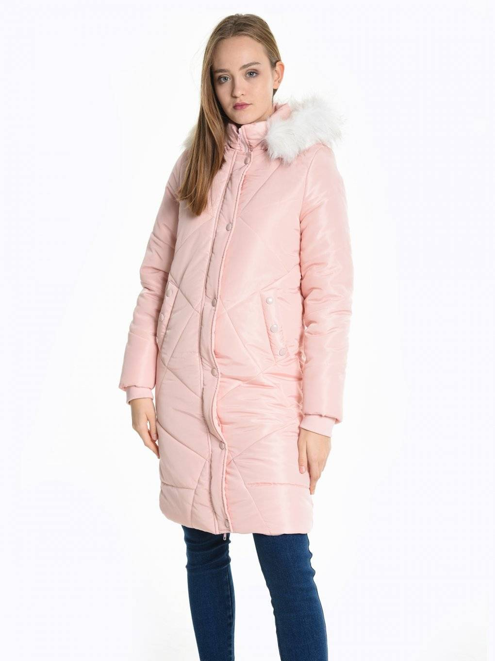 Longloine qulited padded jacket with removable faux fur