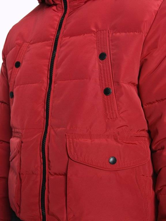 Quilted padded bomber jacket with hood