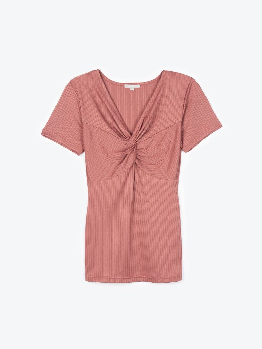 Ribbed short sleeve top with knot