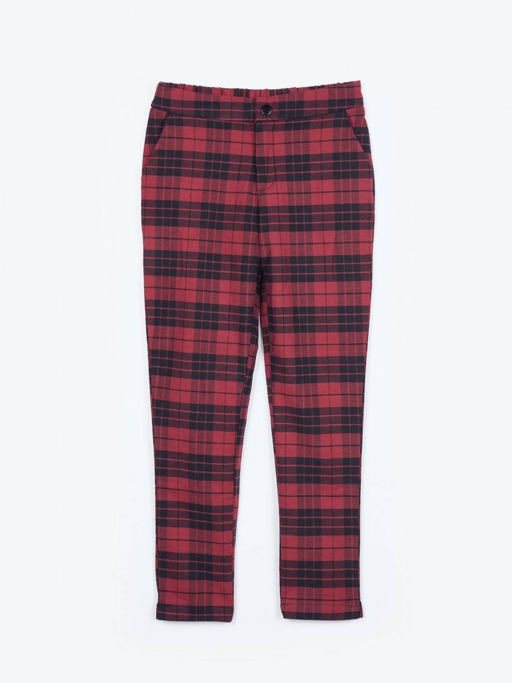 Plaid stretch trousers