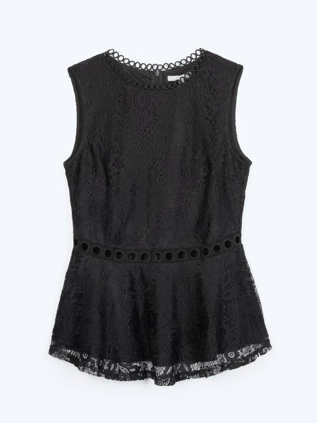 Lace peplum sleeveless top