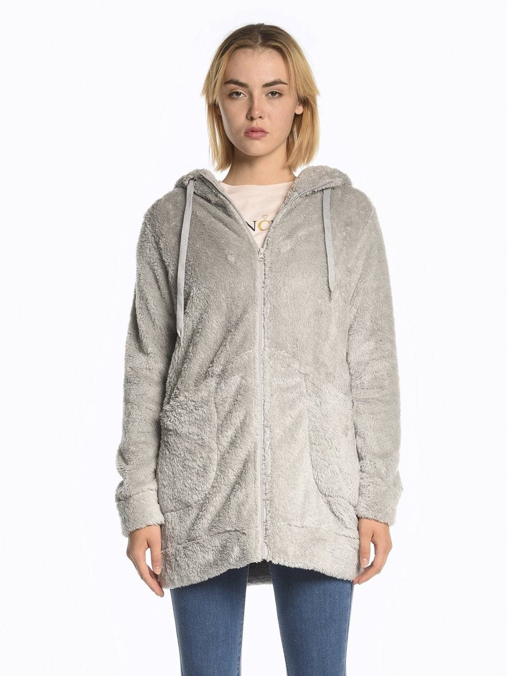 Fluffy longline sweatshirt with zipper