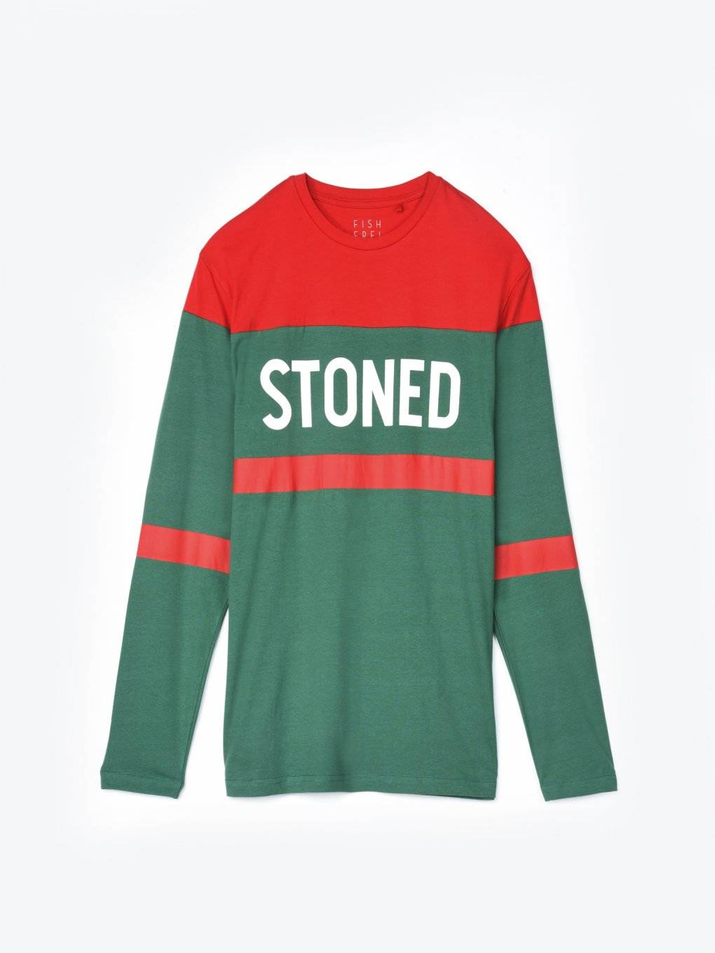 Colour block long sleeve t-shirt with print