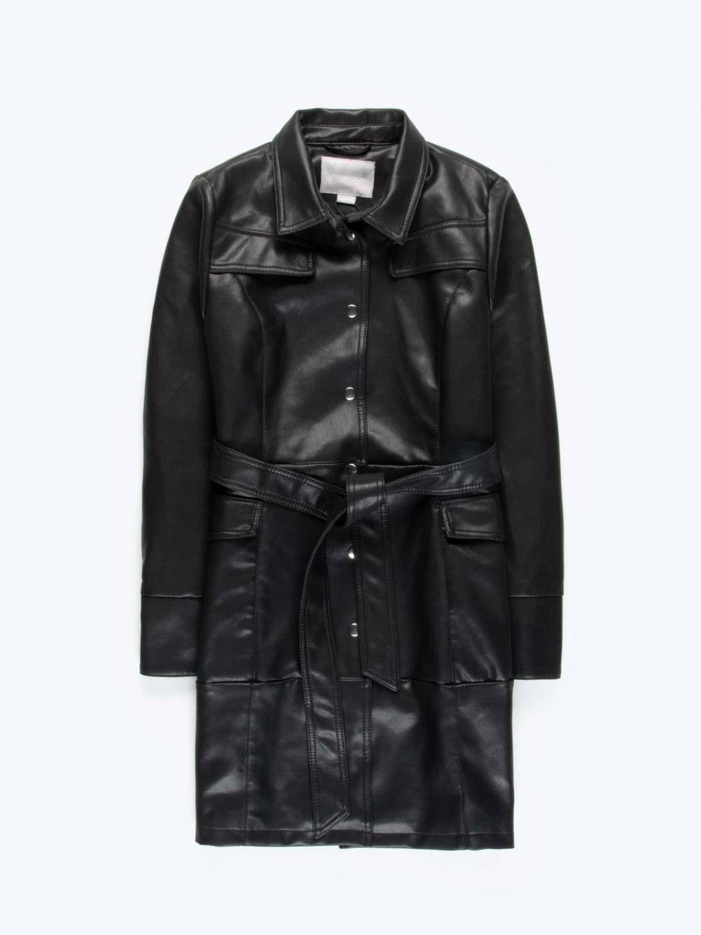 Faux leather coat with belt