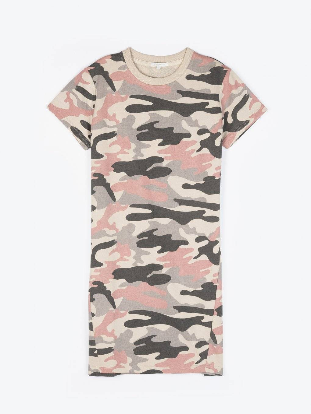 Camo print sweatshirt dress