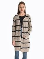 Longline striped cardigan with pockets