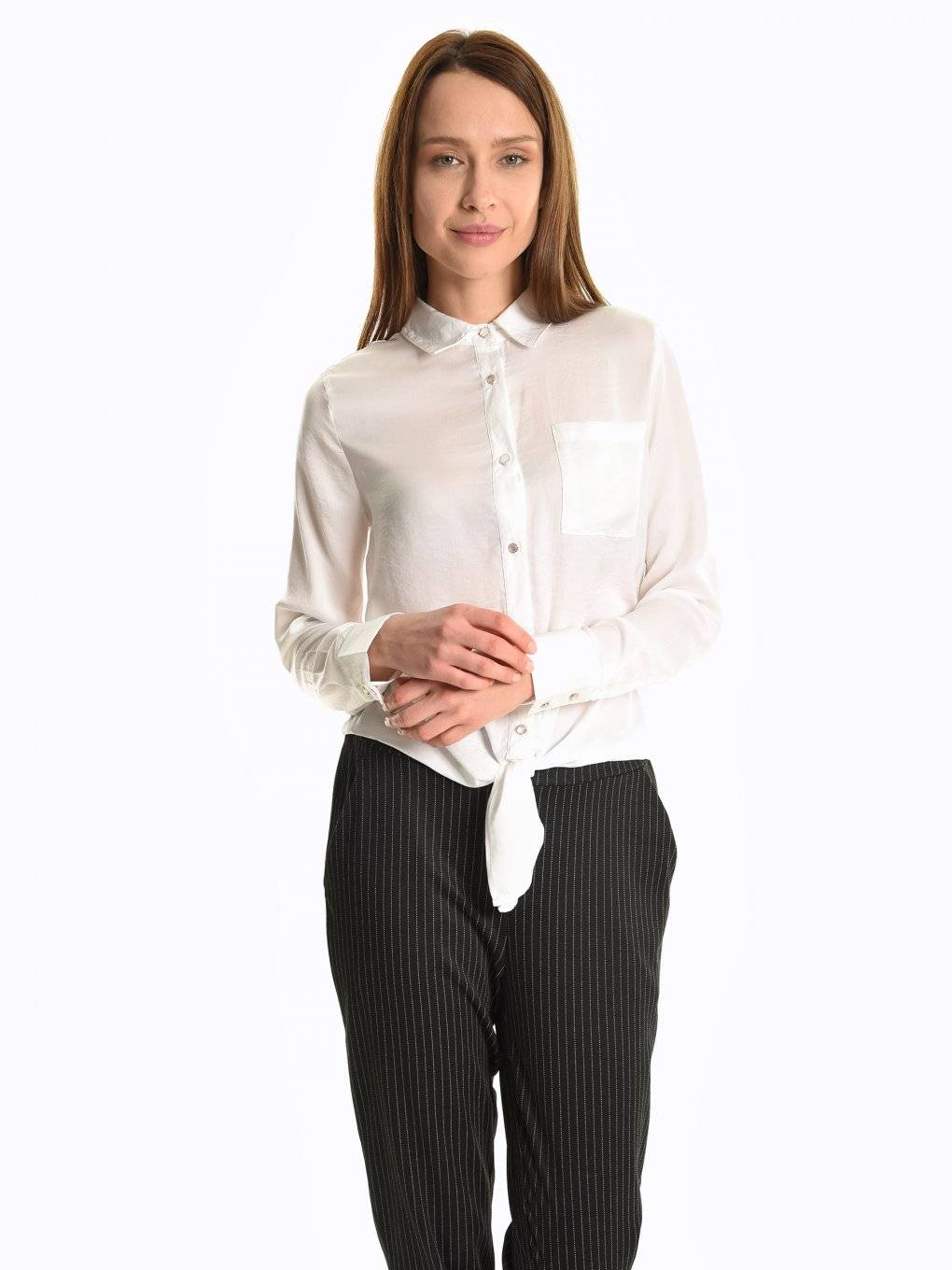 Satin tie-up blouse