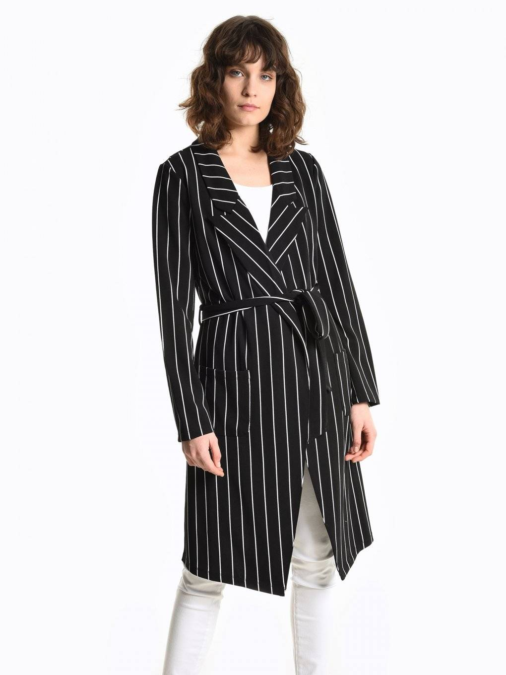 Prolonged striped blazer