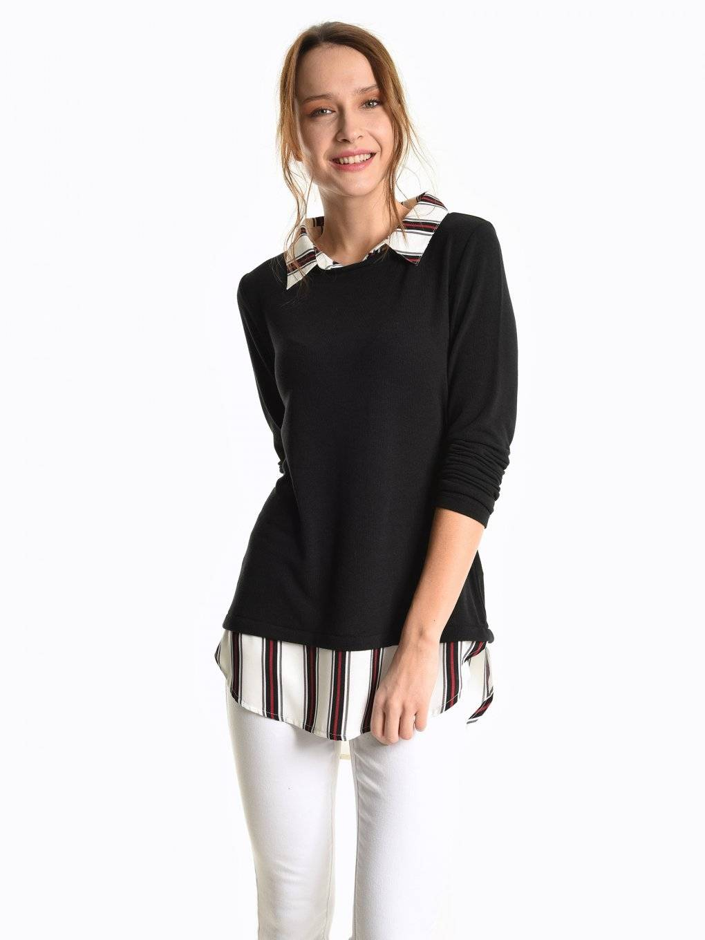 Combined pullover with blouse detail