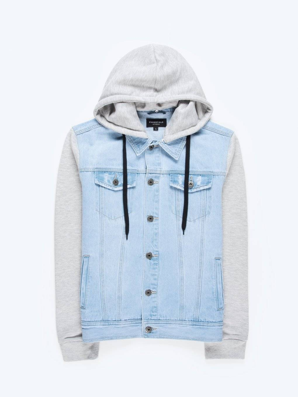 Combined denim jacket with hood