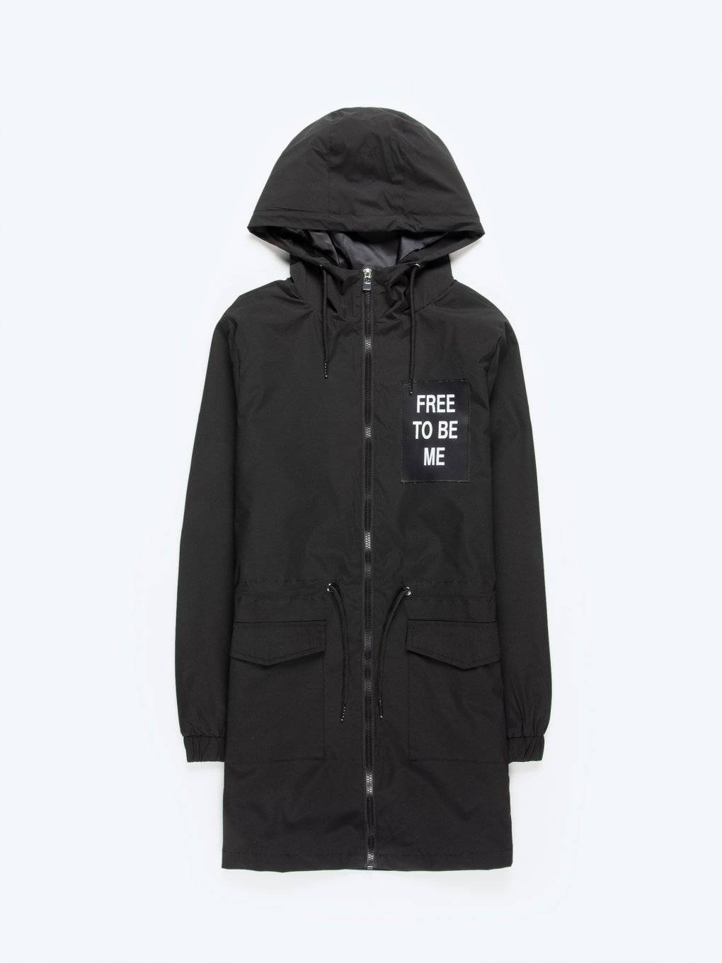 Hooded parka with slogan print