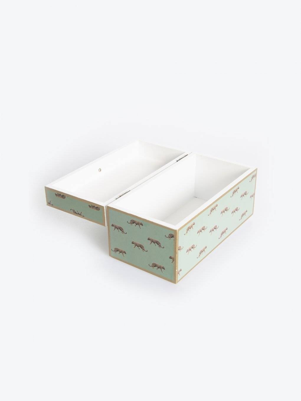 Wooden casket with animal design