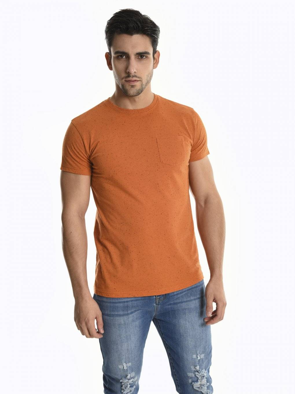 Marled t-shirt with chest pocket