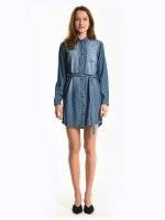 Cotton shirt dress with chest pocket