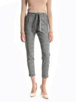 Plaid stretchy carrot fit trousers