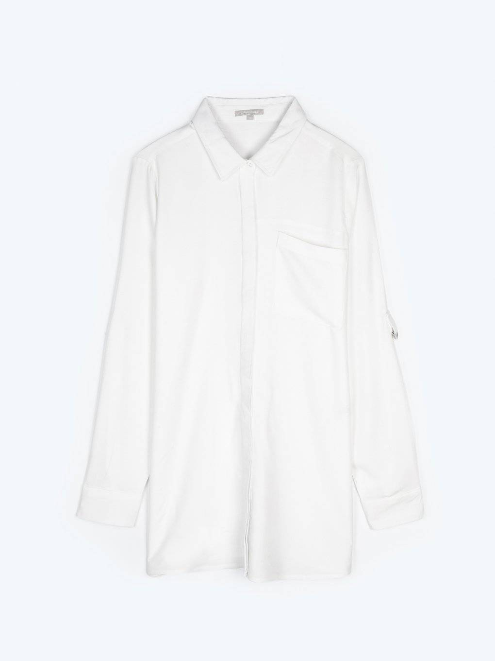 Longline viscose shirt with roll up sleeves